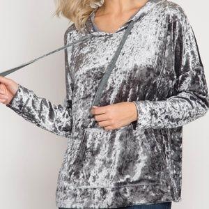 Tops - Silver Grey Crushed Velvet Hoodie